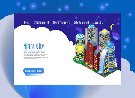 Night city with luminous buildings isometric web page with menu interface on white blue background vector illustration