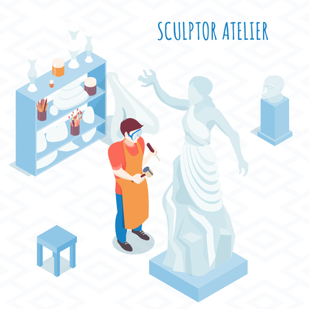 Fine artist at work isometric composition with sculptor carving stone stature with hammer and chisel vector illustration