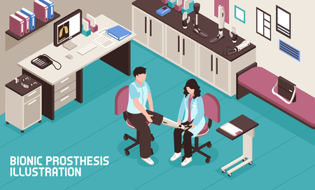 Bionic prosthesis isometric illustration with male patient receiving brain controlled leg in doctors office vector illustration