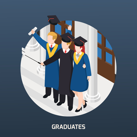 University graduates with diploma in academic hats making selfie isometric composition invitation card round frame vector illustration