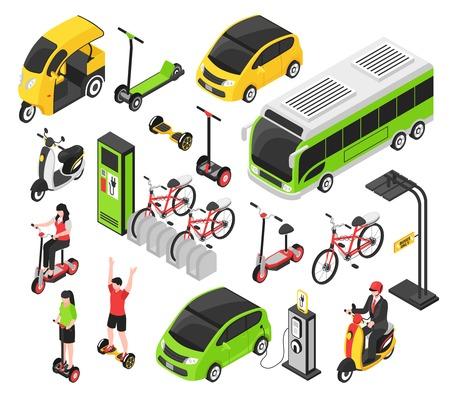 L'insieme isometrico di trasporto di eco con la girobussola della bicicletta del motorino dell'automobile elettrica ha isolato l'illustrazione decorativa di vettore delle icone
