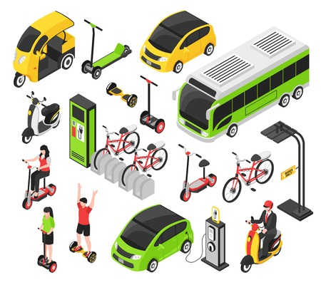 Eco transport isometric set with electric car scooter bicycle gyro isolated decorative icons vector illustration