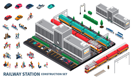 Railway station constructor elements with modern station building trains and  passengers baggage waiting for departure in hall isometric vector illustration 写真素材 - 113030476