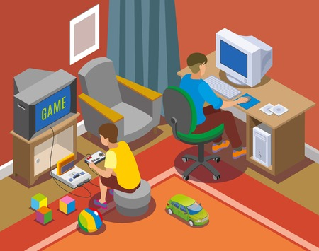 Retro gadgets isometric composition with teens near personal computer and with game console vector illustration