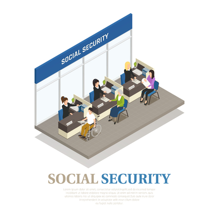 Elderly woman, disabled person and mother with infant in social security office isometric composition vector illustration