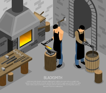 Blacksmith masters with professional instruments during work in forge isometric vector illustration