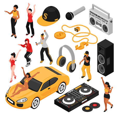 Rap music culture symbols isometric set with singers performers retro accessories so as cassette player isolated vector illustration