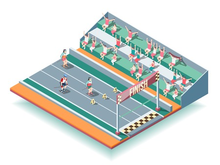 Sports rollers competitions on stadium isometric background with spectators and athletes approaching to finish line vector illustration