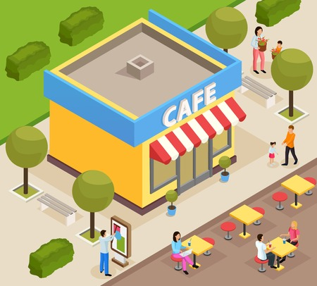 Urban architecture isometric composition with small cafe building exterior with outdoor terrace tables and customers vector illustration Illustration