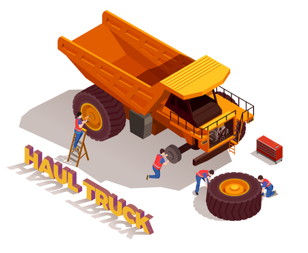 Construction workers with tools during repair of haul truck wheels isometric composition on white background vector illustration