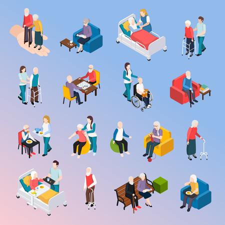 Le icone isometriche dei residenti della casa di cura delle persone anziane hanno messo con l'illustrazione di vettore di svago di assistenza di attività fisiche di cure mediche
