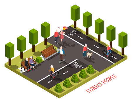 Elderly people nursing home outdoor recreation area isometric composition with residents cycling walking dog reading vector illustration