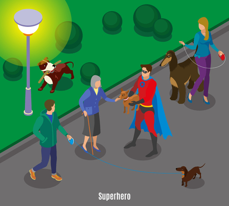 Super hero holding pet of old lady during dogs walking in evening time isometric vector illustration