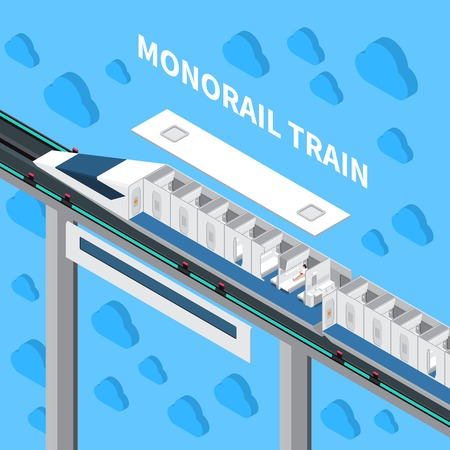 Monorail speed train isometric composition  with interior constructor of car and traveling passengers vector illustration Illustration