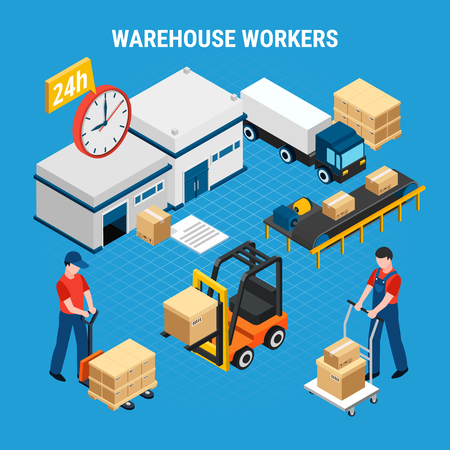 Warehouse workers loading and delivering boxes 3d isometric vector illustration