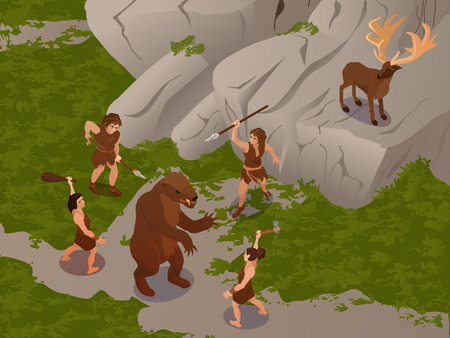 Ancient people using primitive hunting weapon to ambush and kill dinosaur and hert isometric composition vector illustration