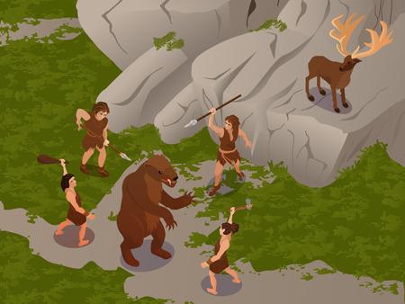 Les anciens utilisant une arme de chasse primitive pour tendre une embuscade et tuer des dinosaures et des hert illustration vectorielle de composition isométrique Vecteurs
