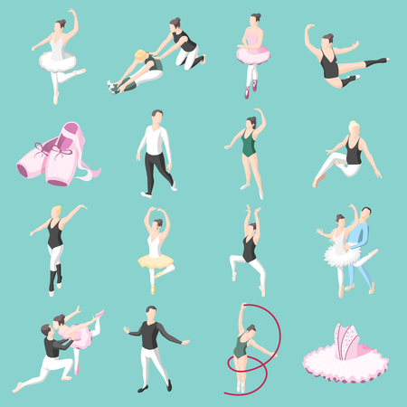 Ballet isometric icons set of dancer couples ballerinas in dancing poses and doing training exercises isolated vector illustration Ilustrace