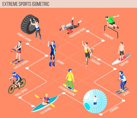 Extreme sports isometric flowchart with people involved in water skiing diving kayaking snowboarding surfing zorbing parkour parachuting bocking vector illustration