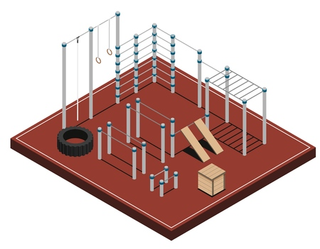 Sports ground with metal wooden and rubber workout equipment on brown covering isometric vector illustration Stock Vector - 127149109