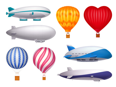 Dirigible and balloons transportation design realistic set isolated vector illustration