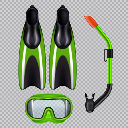 Diving accessories realistic set with snorkel breathing tube mask and flippers  green on transparent background vector illustration