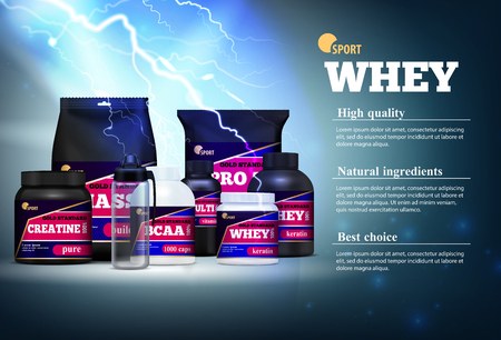 Fitness sport muscle mass gain natural ingredients protein products realistic advertising composition description stormy background vector illustration