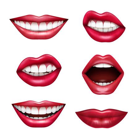 Expressions de la bouche lèvres langage corporel émotions réalistes sertie de rouge à lèvres brillant rouge à lèvres isolé illustration vectorielle