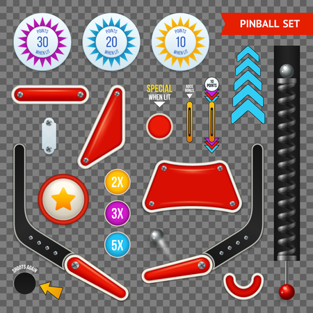 Isolated pinball elements transparent icon set with different set of buttons and tools vector illustration