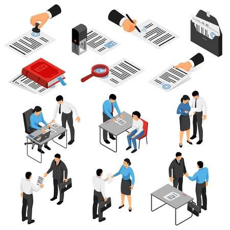 Set of isometric icons with notary and customers during work documents and accessories isolated vector illustration Stock Illustratie