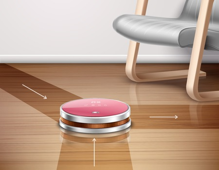 Robot vacuum cleaner in work with direction of movements on parquet floor 3d vector illustration Illustration