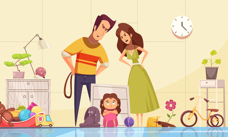 Childhood fears composition with punishment in family symbols vector illustration