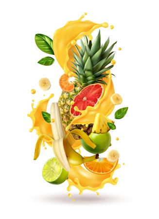 Realistic ftuiys juice splash burst composition with spray images and ripe tropical fruits on blank background vector illustration