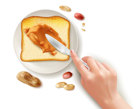 Realistic toast peanut butter knife set with human hand spreading butter on toast bread with plate vector illustration