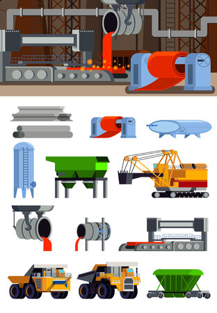 Steel production foundry equipment machinery for ore mining and transportation set of flat icons isolated vector illustration