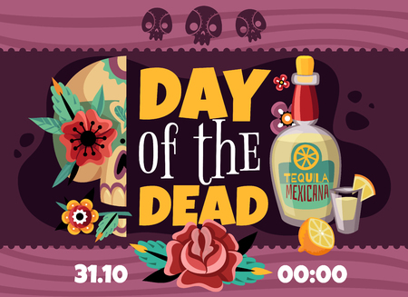Dead day party announcement horizontal poster with data time tequila rose flower sculls colorful decorative vector illustration