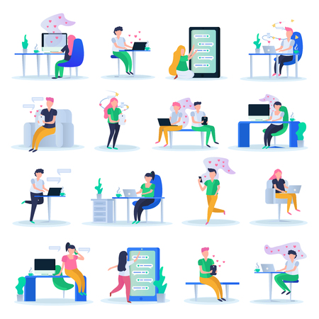 Virtual love orthogonal compositions of  young people dating online in heart symbols clouds icons set vector illustration