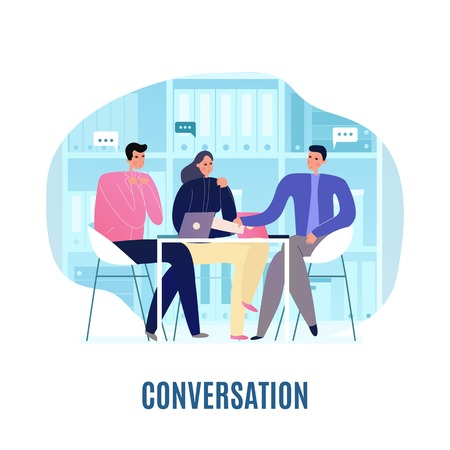Three people having discussion at business meeting flat vector illustration