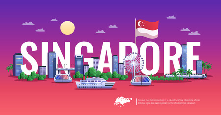 Singapore colorful horizontal illustration of panoramic view with modern buildings ships and vehicles flat vector illustration