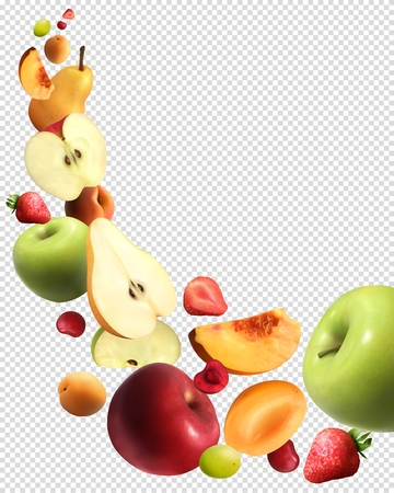 Fruits falling abstract transparent background with whole and sliced organic products set realistic vector illustration