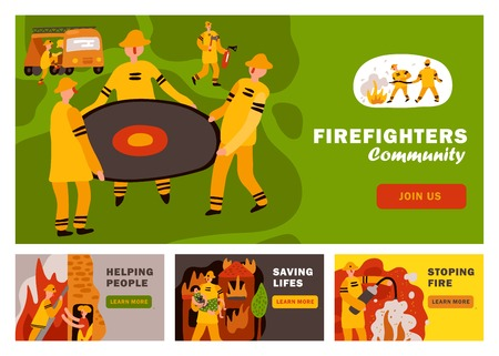 Fire fighting horizontal flat banners with rescue service during dangerous work isolated vector illustration