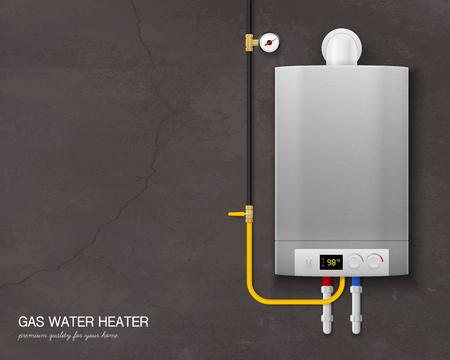Farbige und realistische Zusammensetzung des Gasdurchlauferhitzers mit Werkzeugen an der Wand auf grauer Hintergrundvektorillustration vector