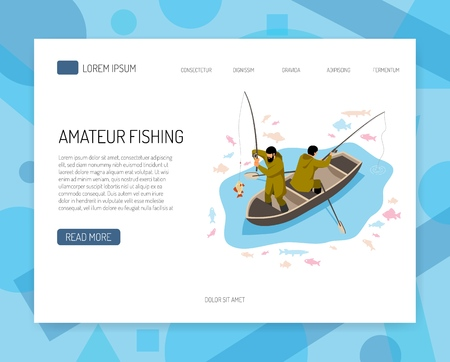 Fishermen in boat during fish catching isometric concept of web banner with interface elements vector illustration