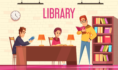 People reading books in library background with bookshelf flat vector illustration 版權商用圖片 - 113266103