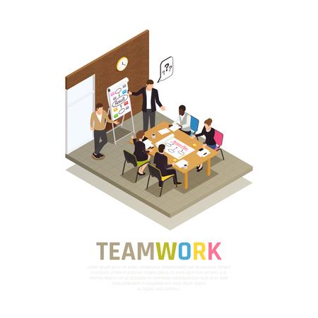 Composición isométrica de colaboración de trabajo en equipo eficaz con el gerente de proyecto que lleva a cabo reuniones compartiendo ideas con la ilustración de vector de grupo de trabajo