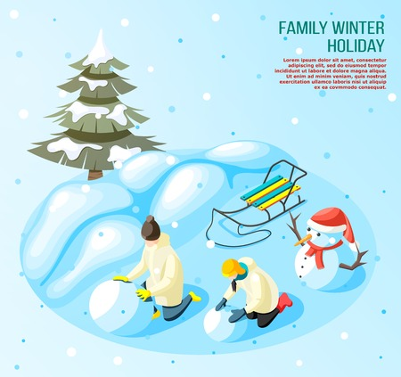 Kids during game in snow ball outdoors in winter holidays isometric composition on blue background vector illustration