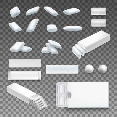 Set of realistic chewing gum of various shape in white color on transparent background isolated vector illustration