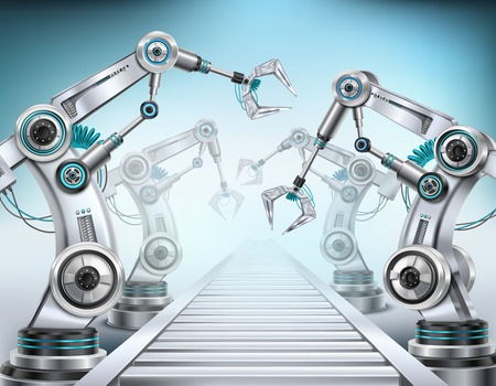 Sistema de transporte de línea de producción totalmente automatizado equipado con brazos robóticos composición isométrica realista ilustración de vector de fondo claro Ilustración de vector
