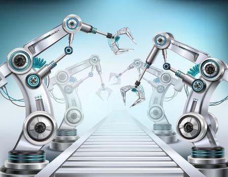 Vollautomatisches Fördersystem für die Produktionslinie, ausgestattet mit Roboterarmen, realistische isometrische Zusammensetzung, helle Hintergrundvektorillustration Vektorgrafik