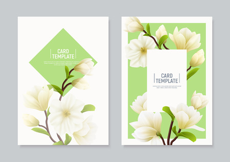 Two vertical colored realistic magnolia flower banner or flyer set with places for text and headline vector illustration